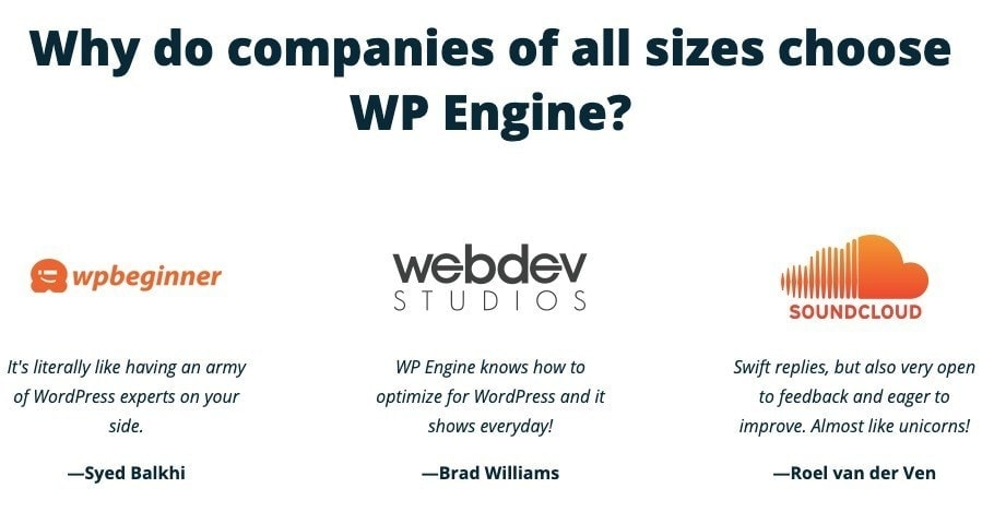 who recommends wpengine