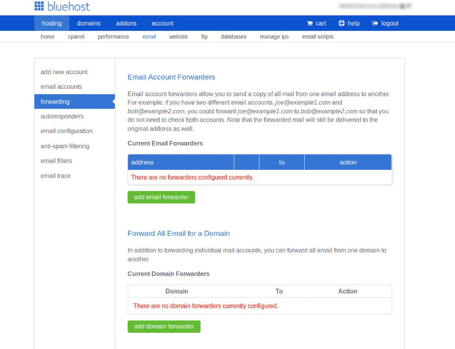 forwarding email bluehost
