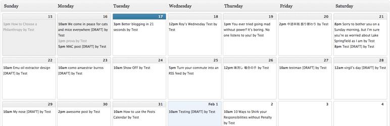 wordpress calendar
