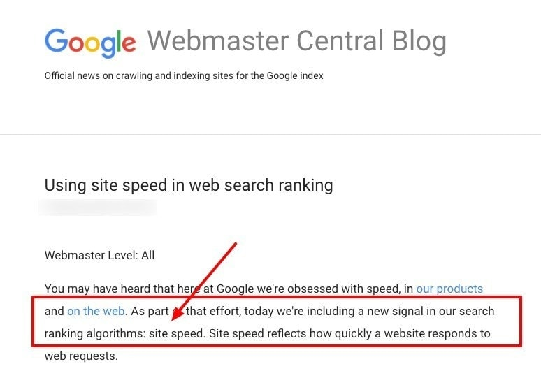 google speed as a ranking factor