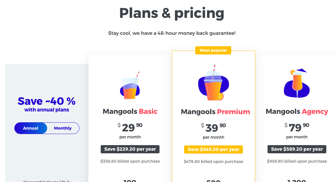 Mangools SEO Tool pricing after discount