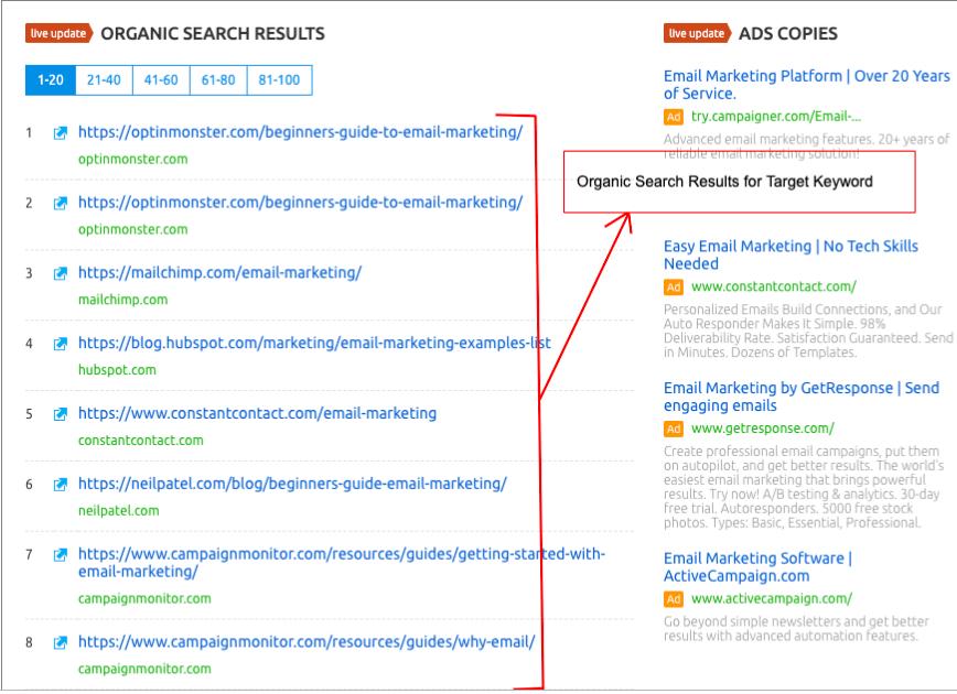 SEMrush Organic Search Results