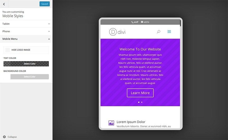 divi for mobile