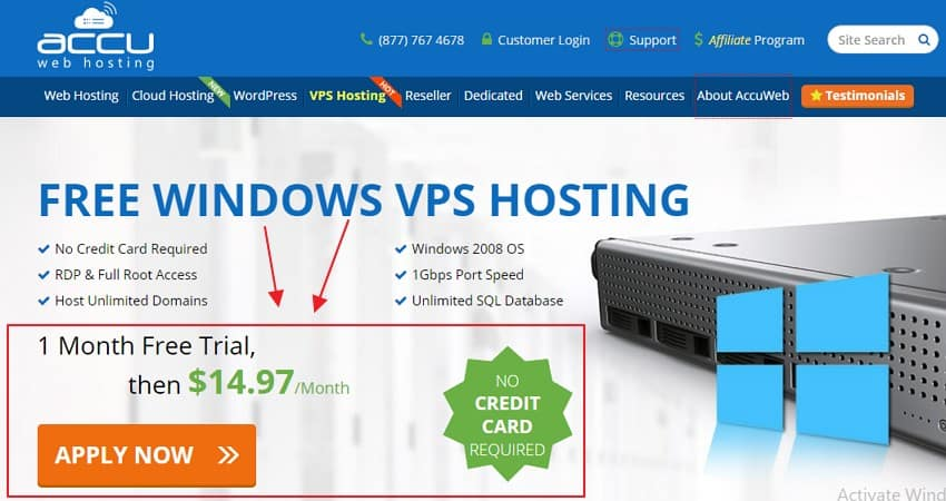 AccuWeb Hosting 1 month free trial