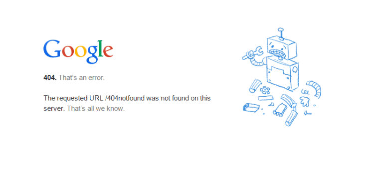 404 google error page
