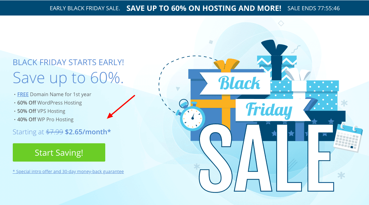 bluehost 2.65 sale