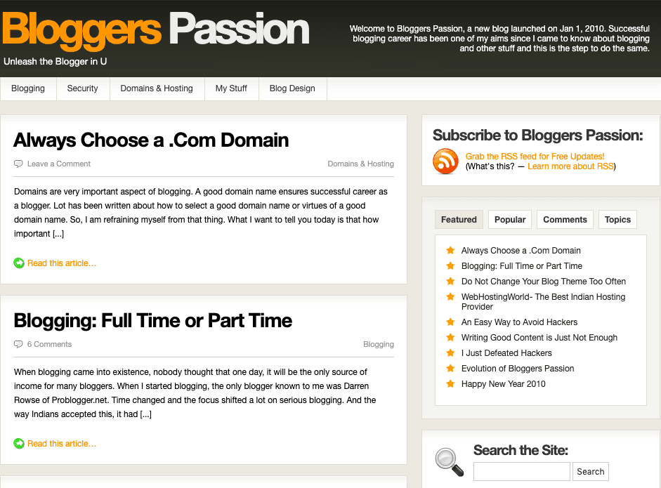 Bloggers Passion website design