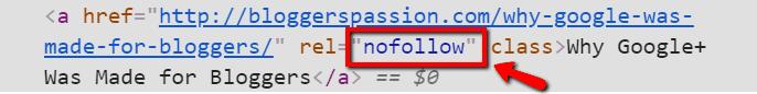 exemple d'étiquette de lien nofollow