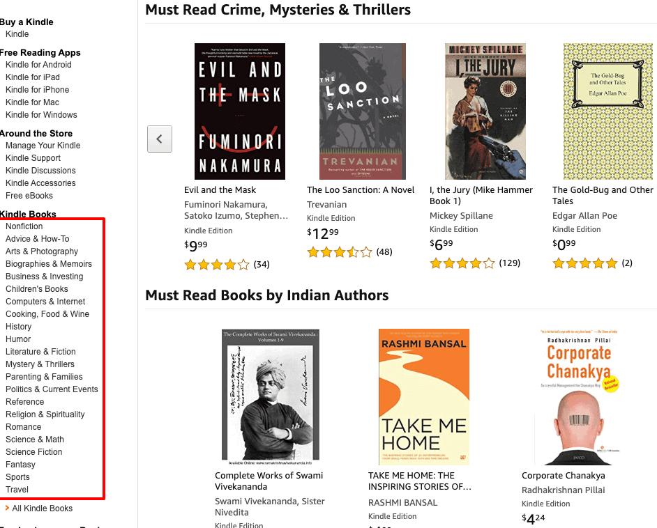 Amazon Kindle section