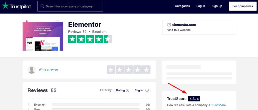 elementor TrustScore