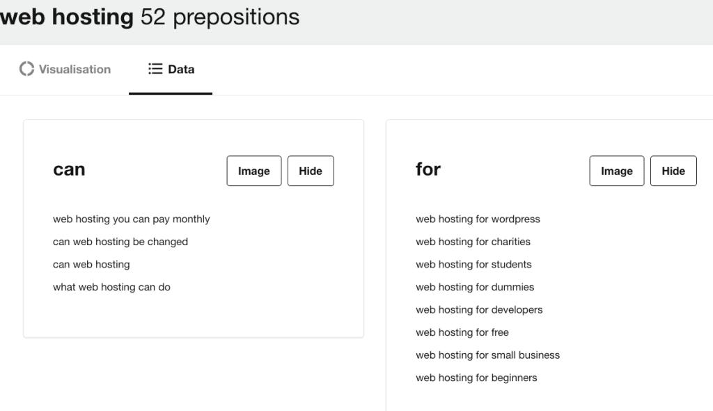 Prepositions data