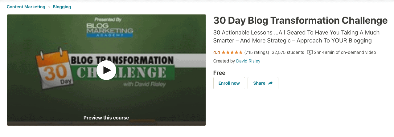 30 Day Blog Transformation