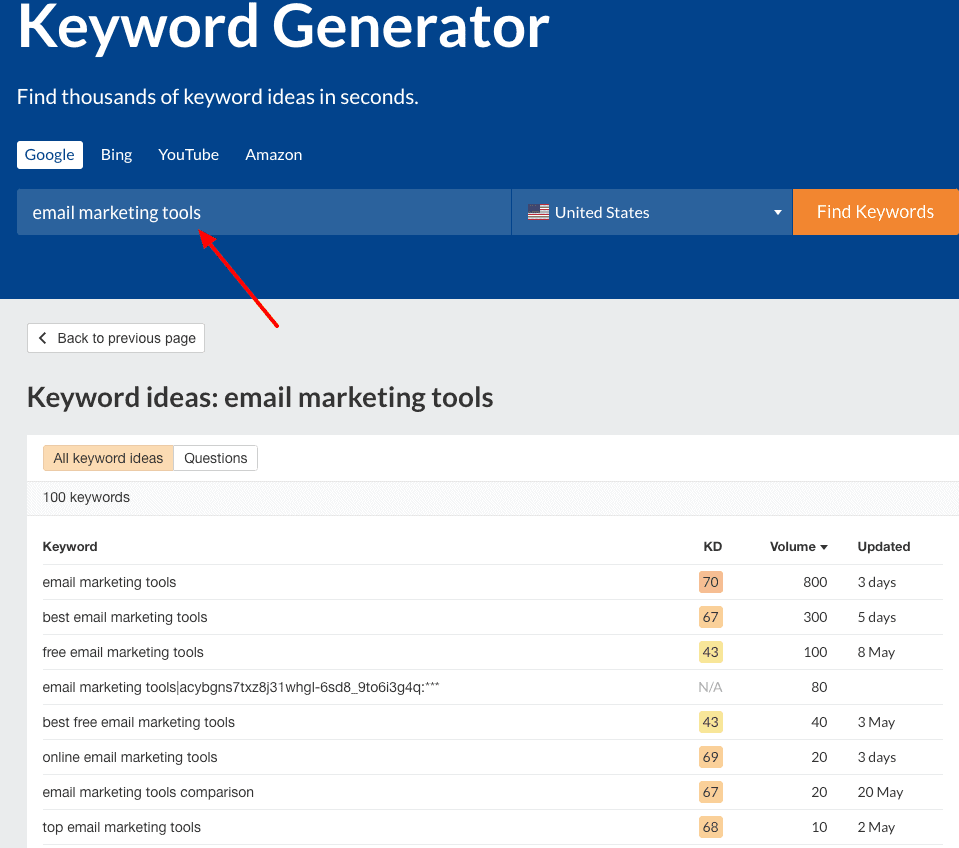 Keyword Generator from Ahrefs