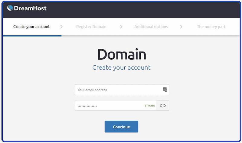 dreamhost create account