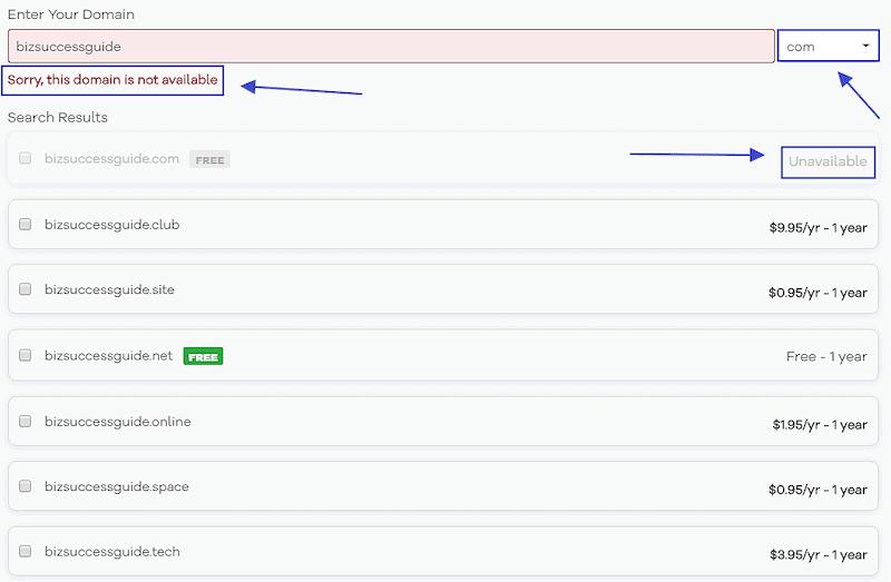 hostgator unavailable domain