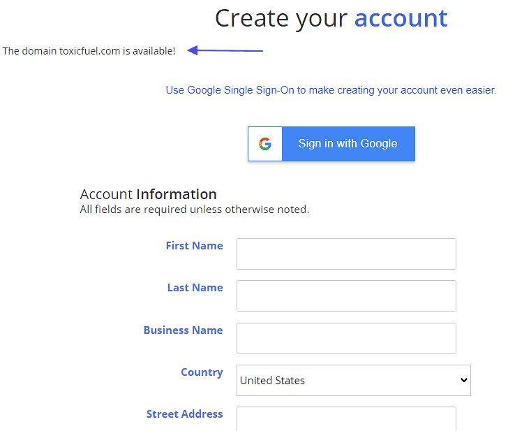 justhost create account
