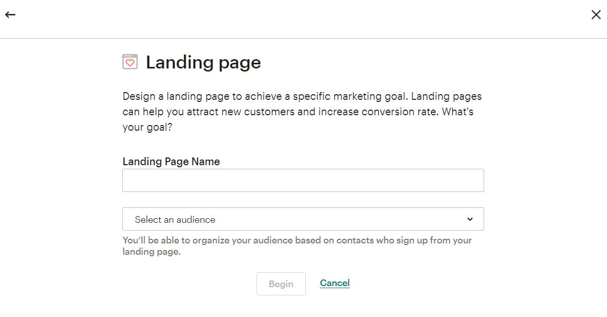 landing page mailchimp