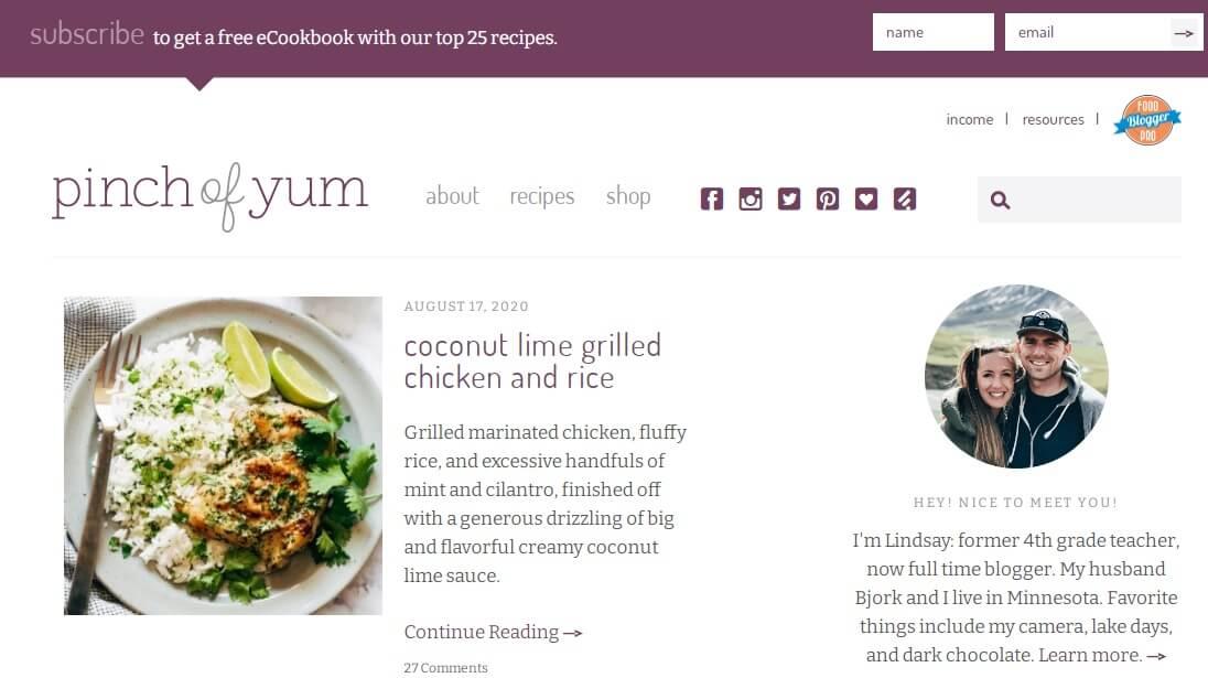 pinch of yum blog
