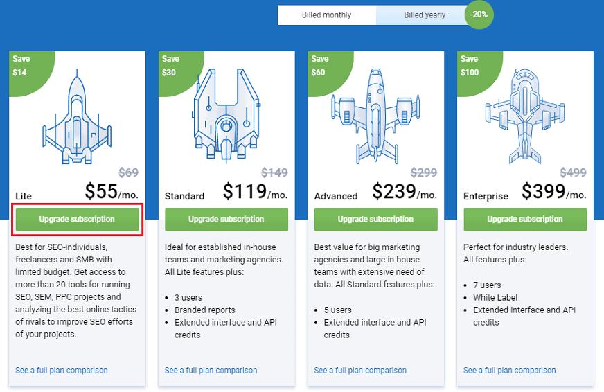 serpstat pricing plans upgrade