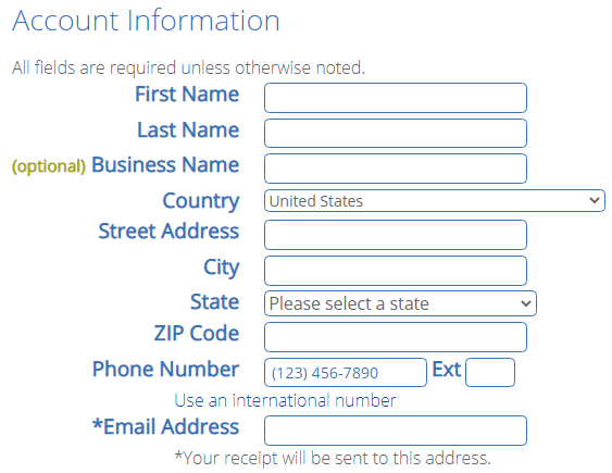Enter your account information