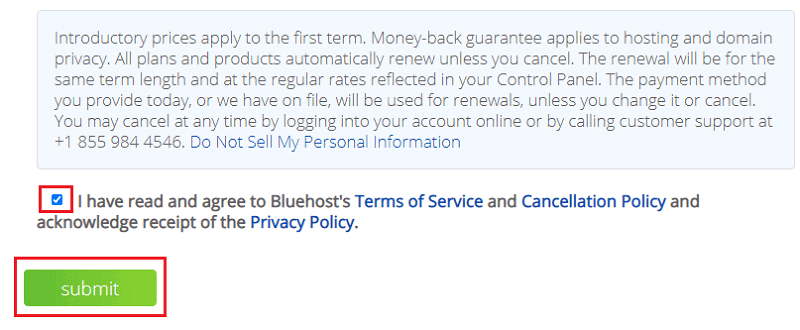 Bluehost signup submit