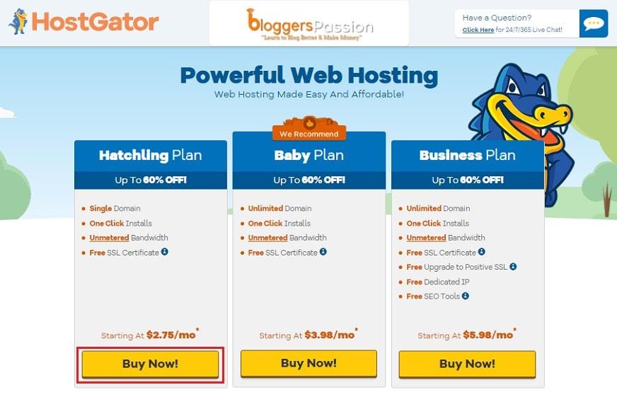 hostgator bp landing page