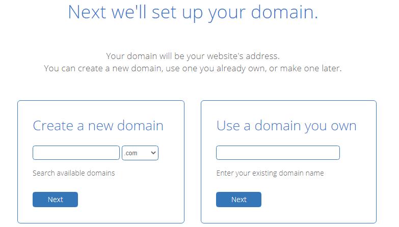 Enter the desired domain name