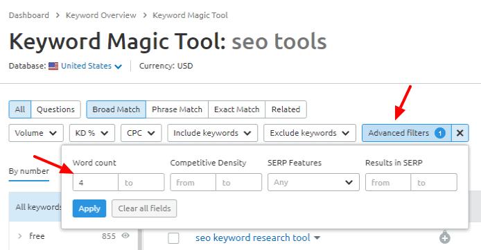 keyword magic Semrush