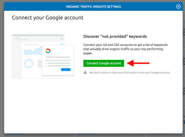 connecting google account with semrush