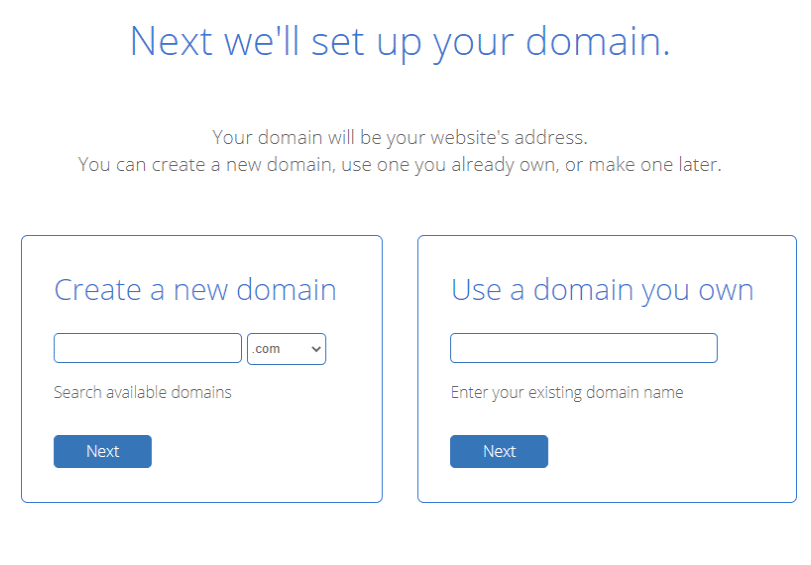 new bluehost domain