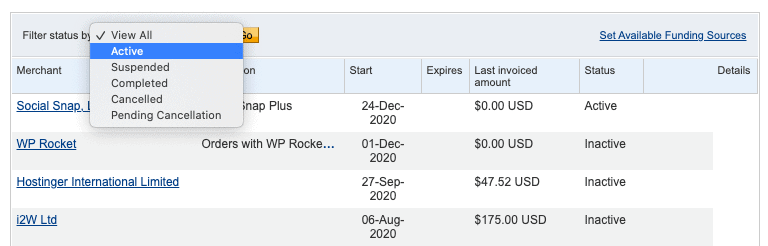 paypal active recurring payments filter