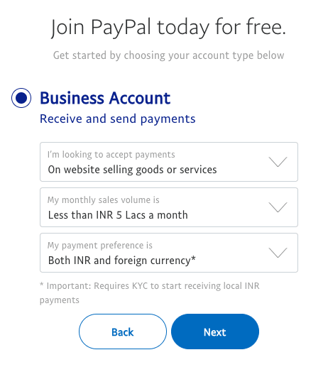 paypal business account type
