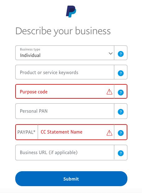 paypal business description