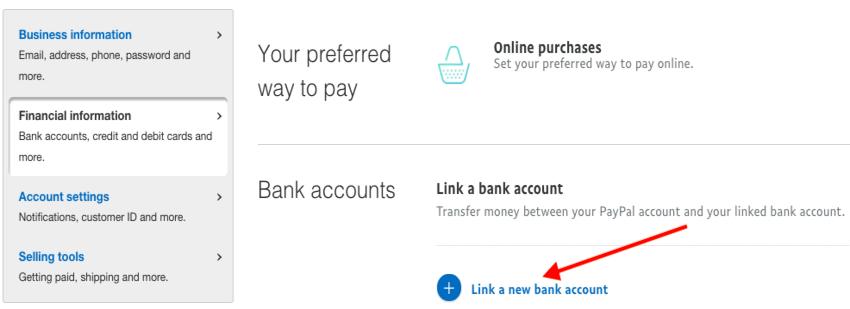 paypal financial information link bank