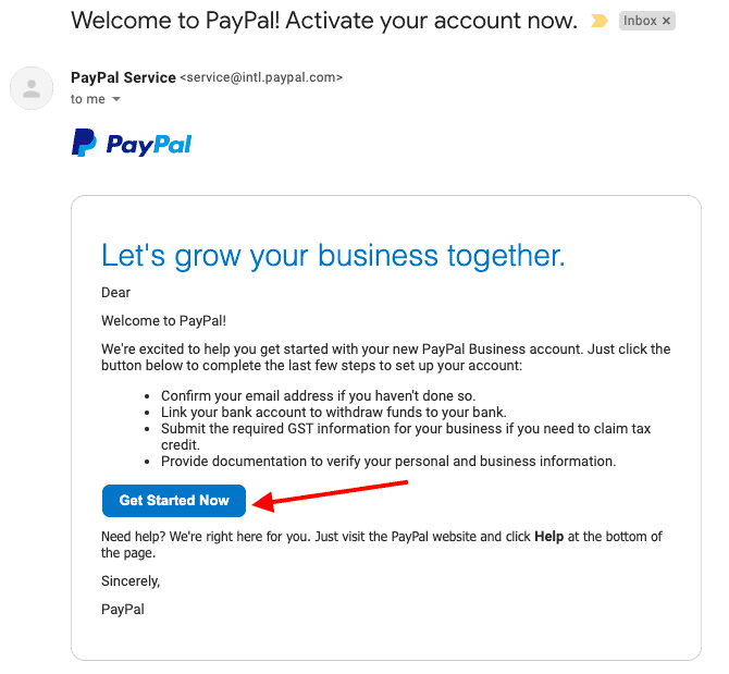 paypal activation mail