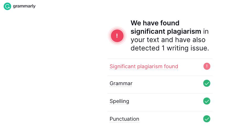 Grammarly's plagiarism checker