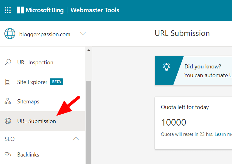 bing URL Submission