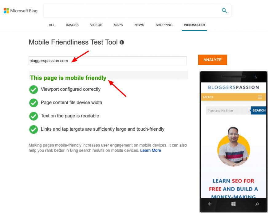 bing mobile-friendliness test tool