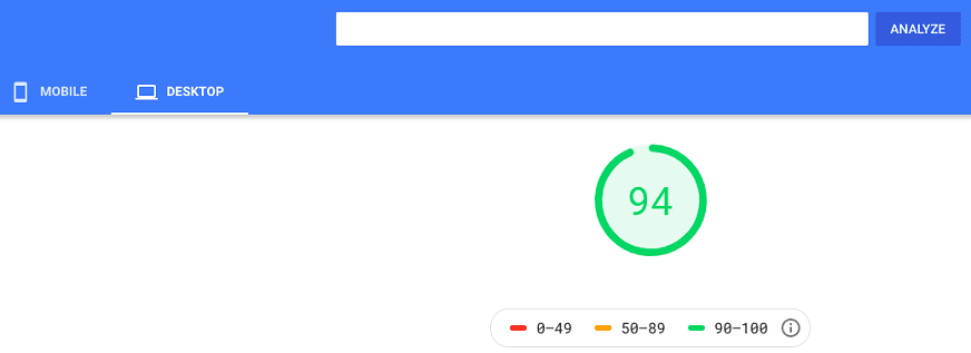 bluehost google page insights desktop