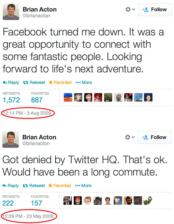 whatsapp founder tweet