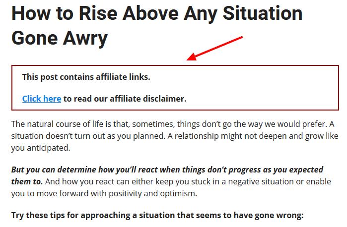 affiliate disclaimer plugin
