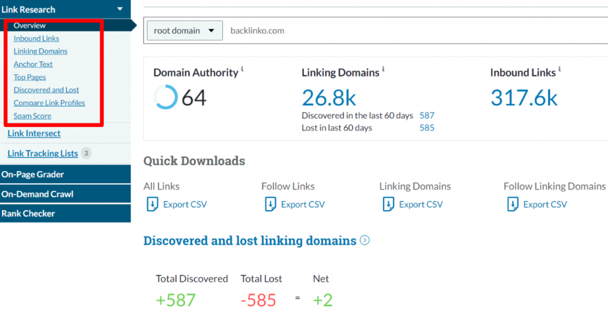 moz link research