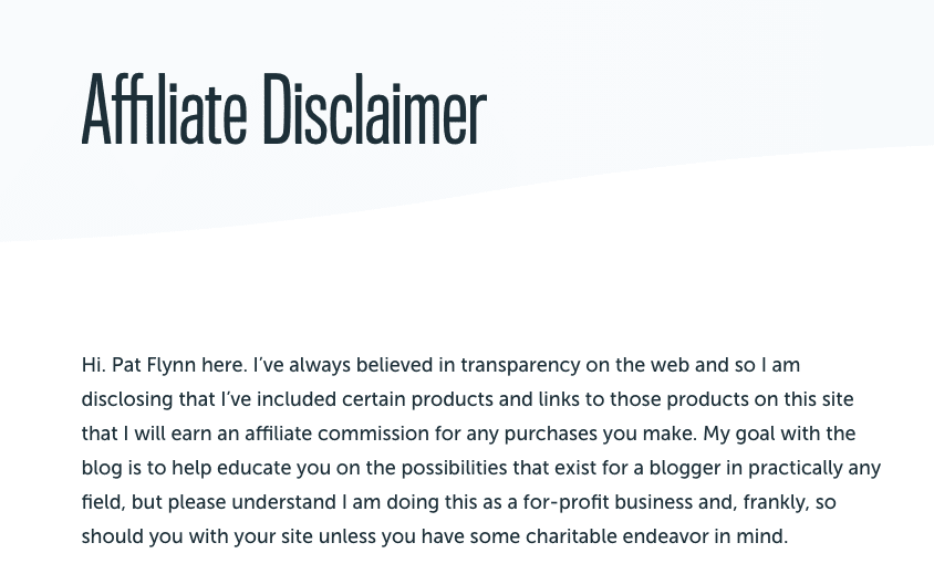 pat flynn affiliate disclaimer