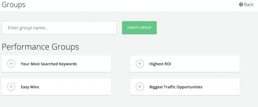 SpyFu Rank Tracking groups