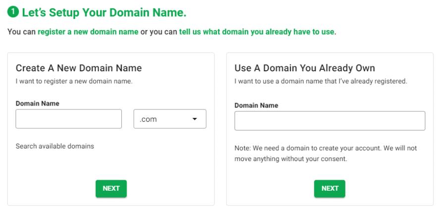 greengeeks domain step