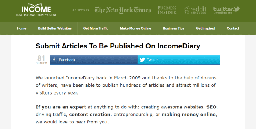 income diary blog