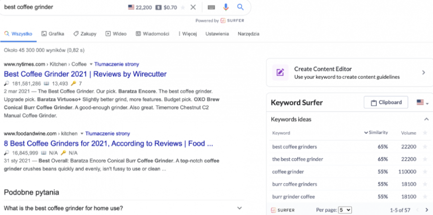 keyword surfer interface
