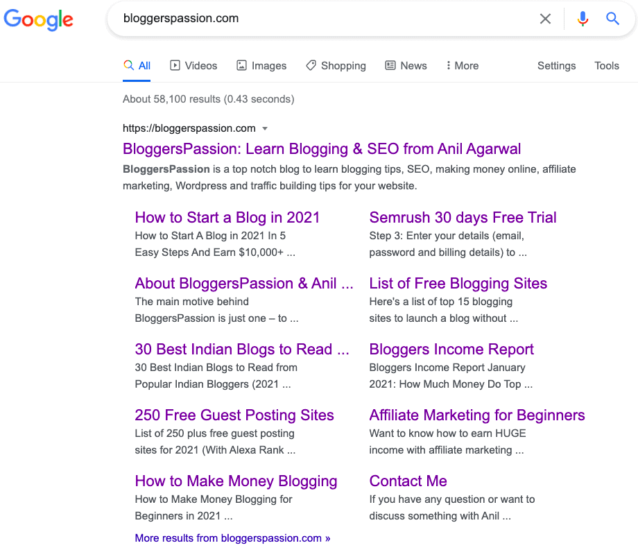 Bloggerspassion.com Sitelinks