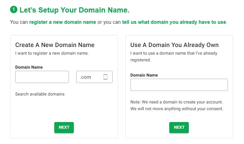 greengeeks choose a domain options