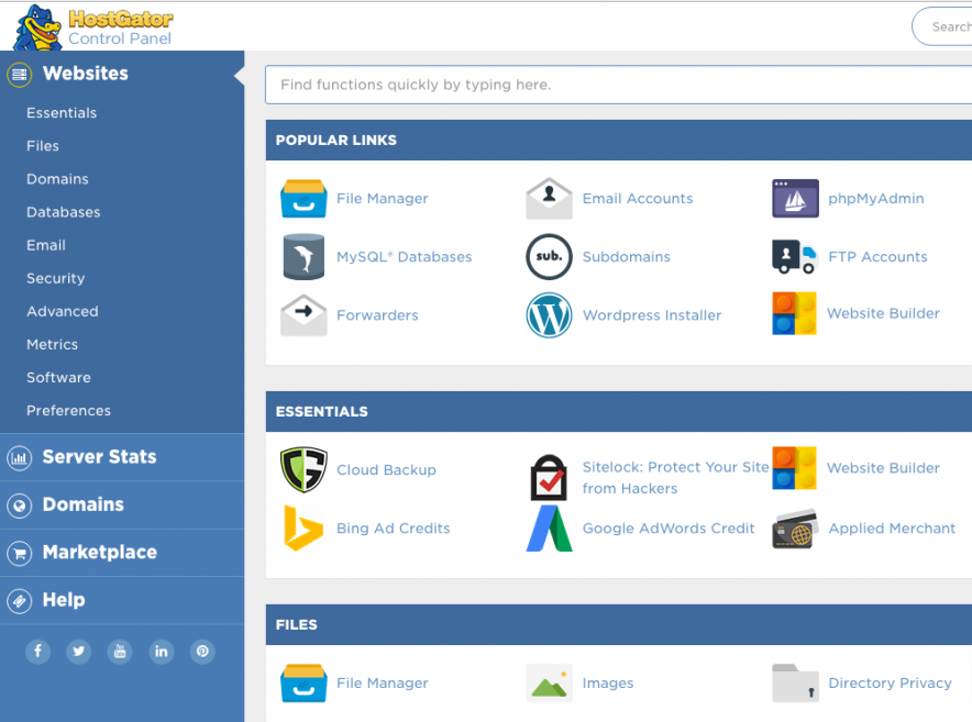 hostgator interface